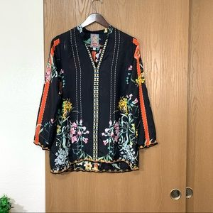 JOHNNY WAS EULIA SILK FLORAL TUNIC BLOUSE TOP